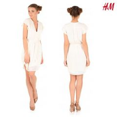Women Dress With Butterfly Sleeves - Off White