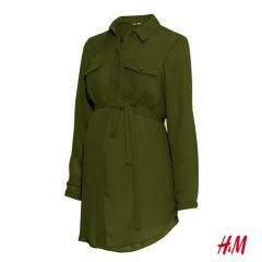 MAMA Long Dress Shirt - Khaki Green