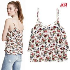 Women Flounced Strappy Top - Floral