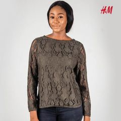 Womens Lace LS Top - Green