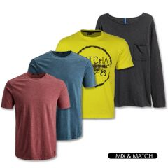 Men Print/Plain SS/LS Tees in Assorted Colors & Sizes | Pack of 20 Units
